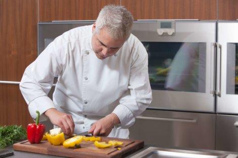 Professional caterer preparing food