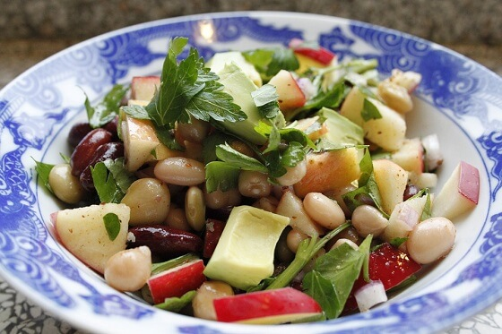 Kale and Bean Salad Recipe with Tahini Dressing and Walnuts